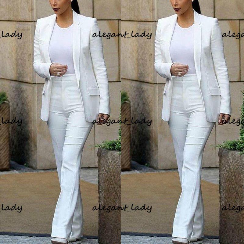 White Mother of the Bride Suits Women Business Blazer With Pants Ladies 2 Pieces Sets Suit(Jacket+Pants conjuntos femininos