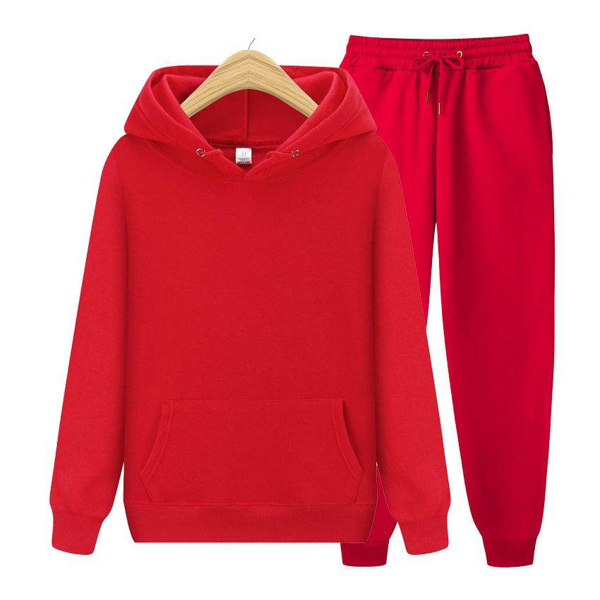 Fashion brand autumn winter women's thickened fleece 2-piece hoodie sweatshirt and pants suit S-XXXL