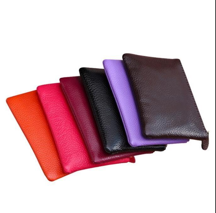 Mini Wallet Men Women Leather Purse Solid Color Simply Coin Key Pocket Wallets Card Coin Storage Purse Durable Unisex Wallet HWC4060