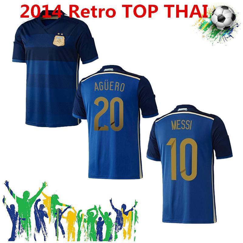 NCAA 2014 Zabaleta Aguero Retro Soccer Jersey di Maria Messi Lavezzi Argentina Gago Higuain Mascherano Vintage Camisa de Futebol Clássico