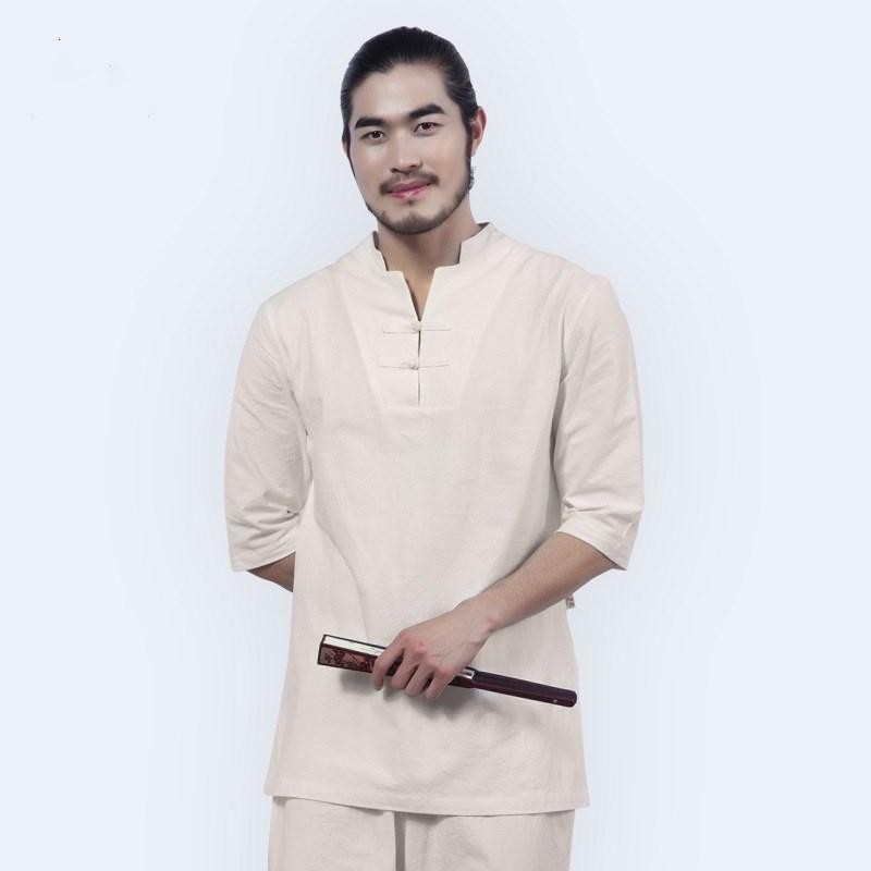 Hombres Tai Chi Kungfu Meditación Uniformes Algodón Ropa de Algodón Rápidamente Secar Trajes Flojos Entrenamiento Casual Fitness Set Sketshirt + Pant