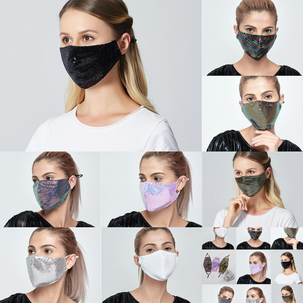 Blings Seallem Masks Queens 2 PM2.5 Filtri Funcy Funny Face Bling Bling e Panno Summer Dust-Proof Lavabile Maschera per adulti Adulto traspirante Polpa da 8 NOPR6