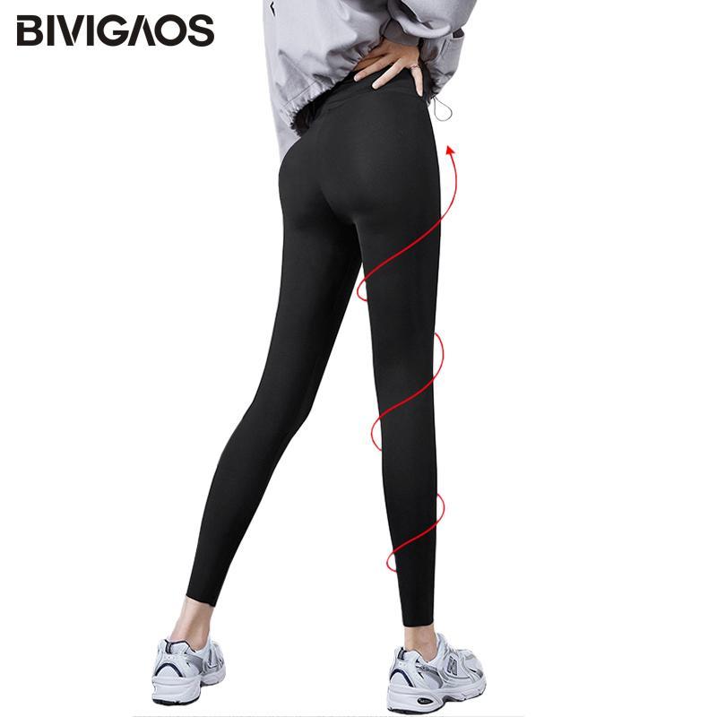 Bivigaos Micro Pressure SharkSkin Frauen Schwarze Fitness Shaping Hüfte Anheben Skinny Slim Sport Workout Leggings