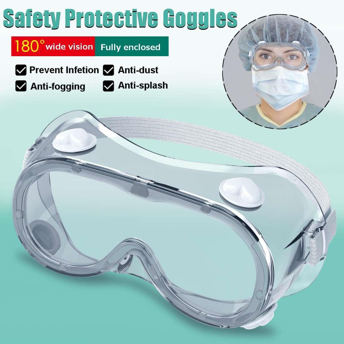 Occhiali protettivi 2 Tipo Goggles di sicurezza Goggles ampia Visione Monouso Eyrable Vent Anti-Fog Goggles Splash