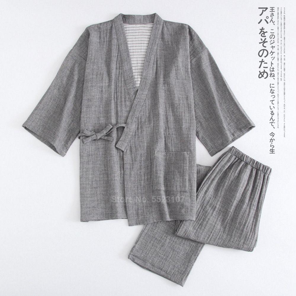 Kimono japonais traditionnel pour hommes Pajamas Ensemble de vêtements de nuit Samurai Samurai Samurai Samurai Baignade Yukata Nightwear Q1216