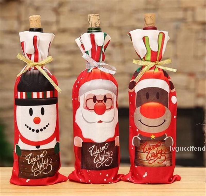 Tabela Decoração Jantar Festa de Vinho Vermelho Natal Papai Noel Garrafa de Garrafa Saco De Sets Garrafa Decor para Ano Novo Xmas Dinner Party