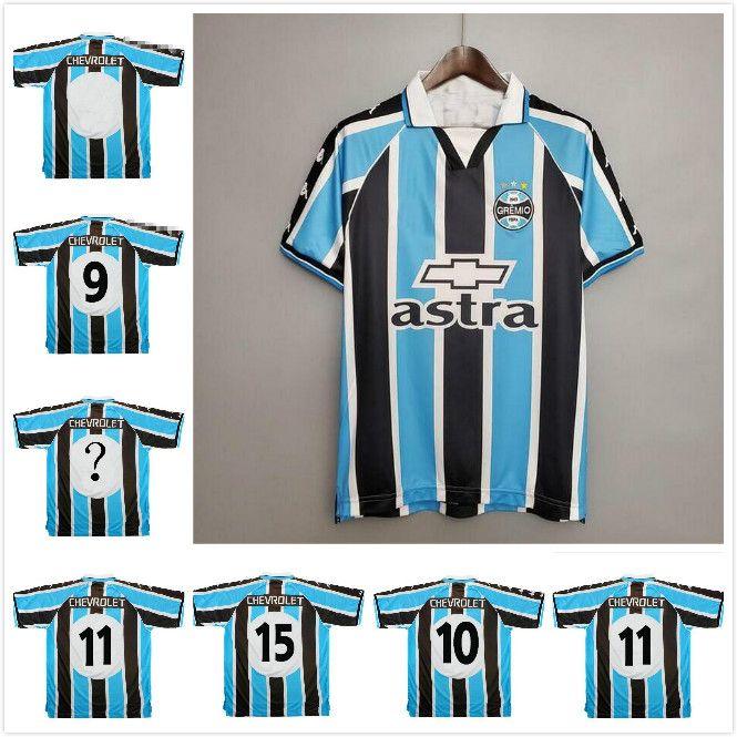 2000 2001 Retro Gremio Calcio pullover su ordinazione qualsiasi nome Numero Vintage 00 01 Gremio casa blu calcio bianco camicia camisetas de futbol