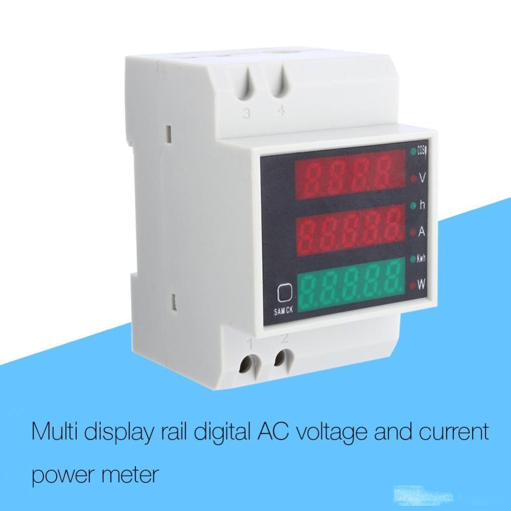 AC 110V 220V DIN RAIL 100A KWH medidor de energia elétrica potência energética Amperímetro voltímetro Top Quality