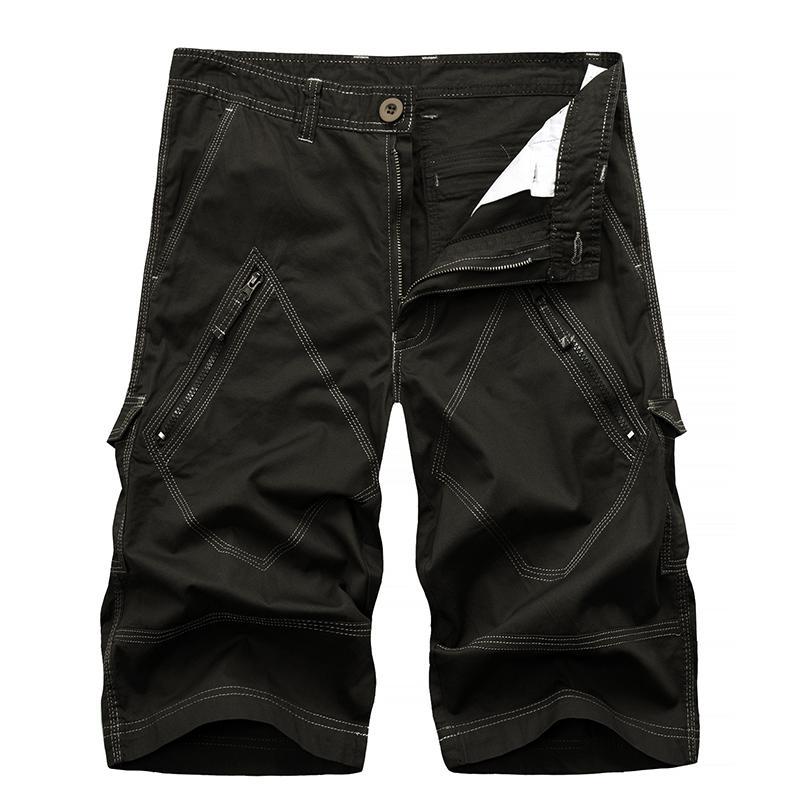 Pantaloncini da uomo Cargo Bermuda Homme maschile moda pantaloncini in cotone lavato corto pantaloni con cerniere a goccia spedizione ABZ144