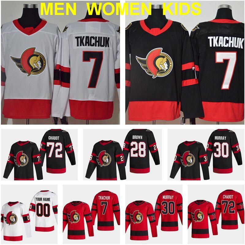 Retro Retro Ottawa Senadores 7 Brady Tkachuk Jersey 72 Thomas Chabot 30 Matt Murray 28 Connor Brown 9 Bobby Ryan 41 Craig Anderson Hockey