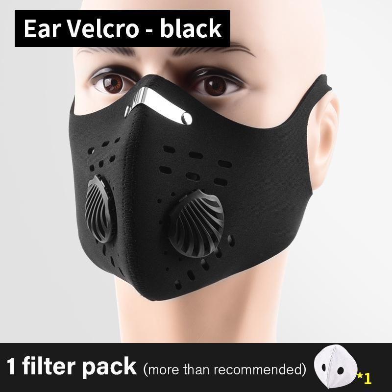Schwarzes Radfahren-Kohlenstoff-Gesicht mit laufendem Filter aktiviert Schutz PM2.5 Anti-Umweltverschmutzung Staubsport Neues Training Bike Wiederverwendbare Masken BLNJS