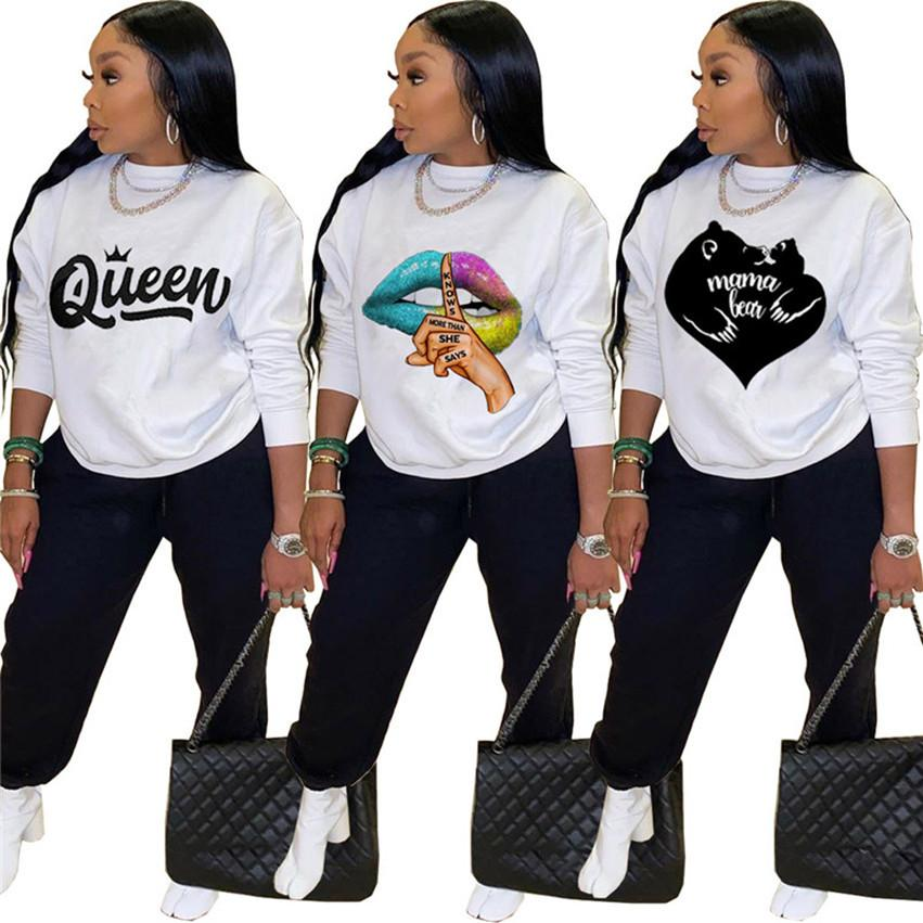 Women hoodies Leggings jogger suits white pullover Pants tracksuits two piece set printed sportswear S-2XL cycling Fall Winter Clothing 4297