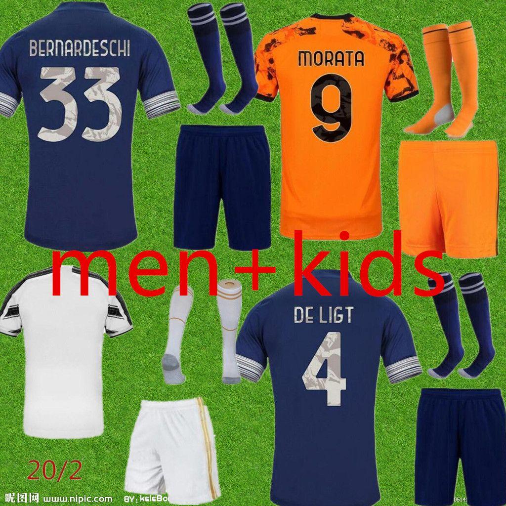 الرجال + الاطفال 2021 Juve Soccer Jersey 2020 2021 الصفحة الرئيسية رابع رونالدو دي Ligt Dybala Higuain Football Shirts Kids Kit Oryms