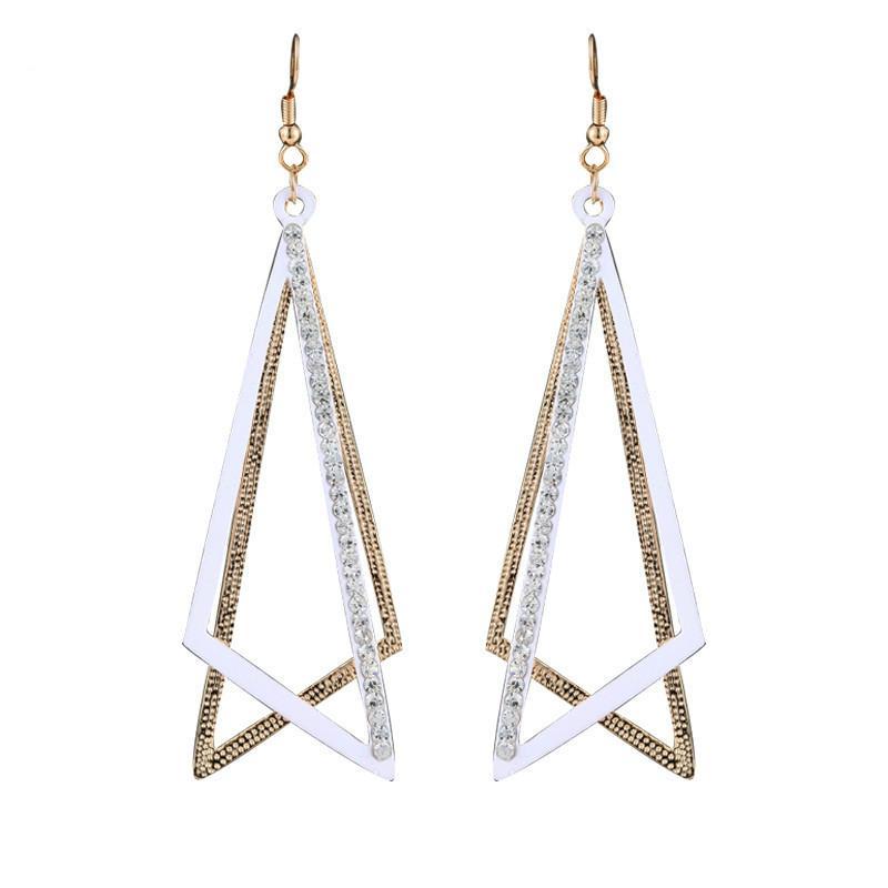 Npkds coreano moda selvagem senhora temperamento de dois cor triângulo brincos senhoras 925sterling prata brilhante zirconia brincos de cristal