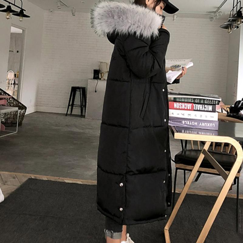 Mujeres algodón acolchado chaqueta con capucha invierno parkets chaquetas cálidas falsos piel moda gótico Outwear casual básico abrigo abrigos largos