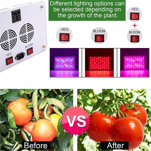 Sıcak 1500 W Yüksek Yoğunluklu LED Çift Cips 380-730nm Tam Işık Spektrum LED Bitki Büyüme Lambası Beyaz Büyümek Işıklar