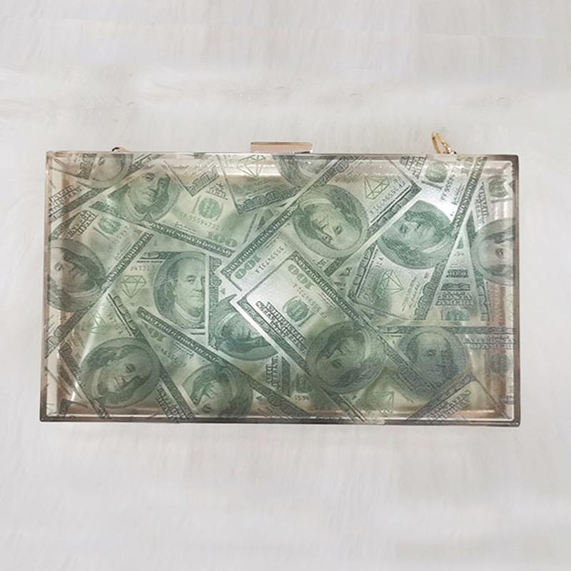 Luxus Acryl Dollar Geld Handtaschen Frauen Kleine Taschen Designer Vintage Damen Abend Clutch Tasche Besten Geschenk Party Prom Handtasche