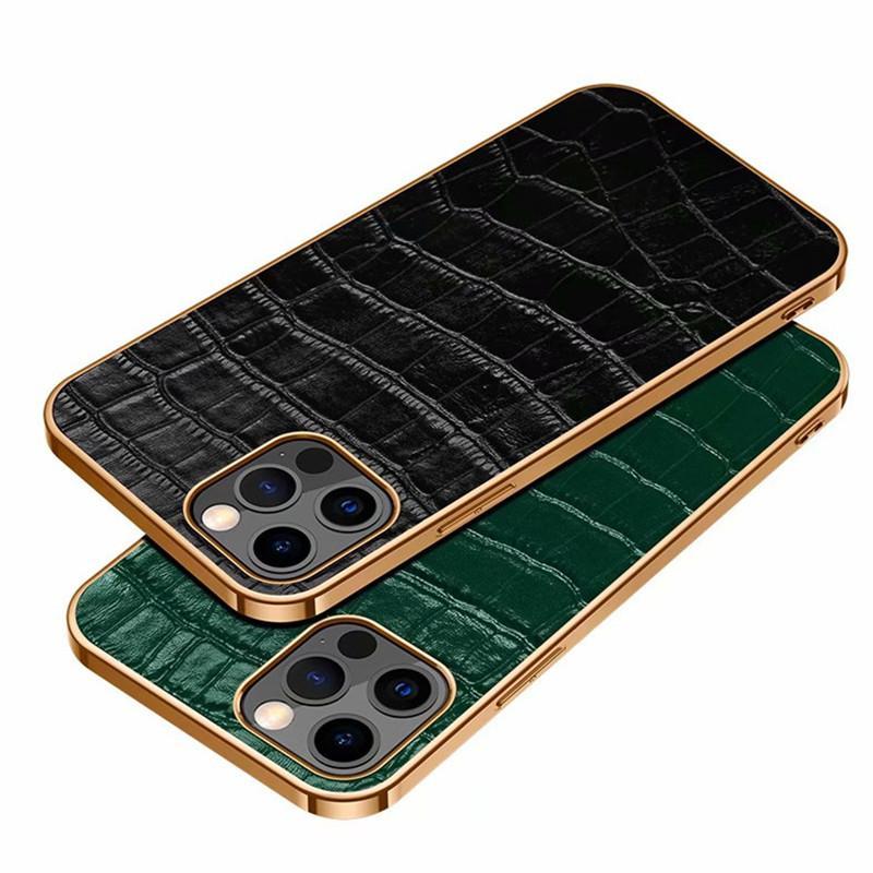 Fashion CroCodile Pattern Estuches para teléfono para iPhone 13 12 Mini 11 PRO X XS MAX XR 7 8 PLUS CUBIERTA DE CUERO GENUINA CUBIERTE FORSAMSUNG GALAXY S21 Nota 20