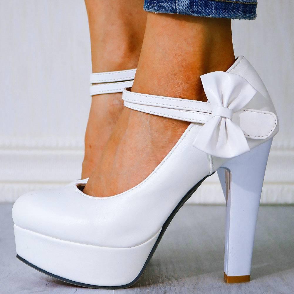 Высокие каблуки Большой размер 43 Сладкий Лук Мэри Янс Женская Обувь