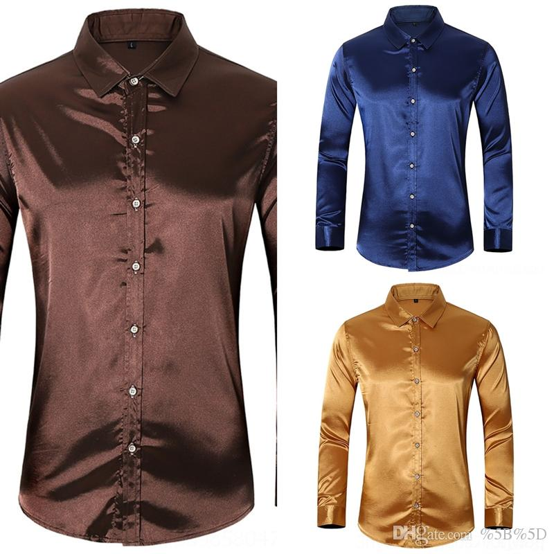 G4xF 2020 Silk shirtnew large men's silk shirt men's business leisure youth solid color long sleeve