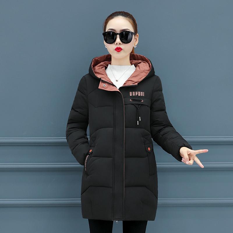 Parka de invierno para mujer de algodón con capucha con capucha collar de pie femenino nueva moda abrigo de invierno acolchado para mujer lj201021
