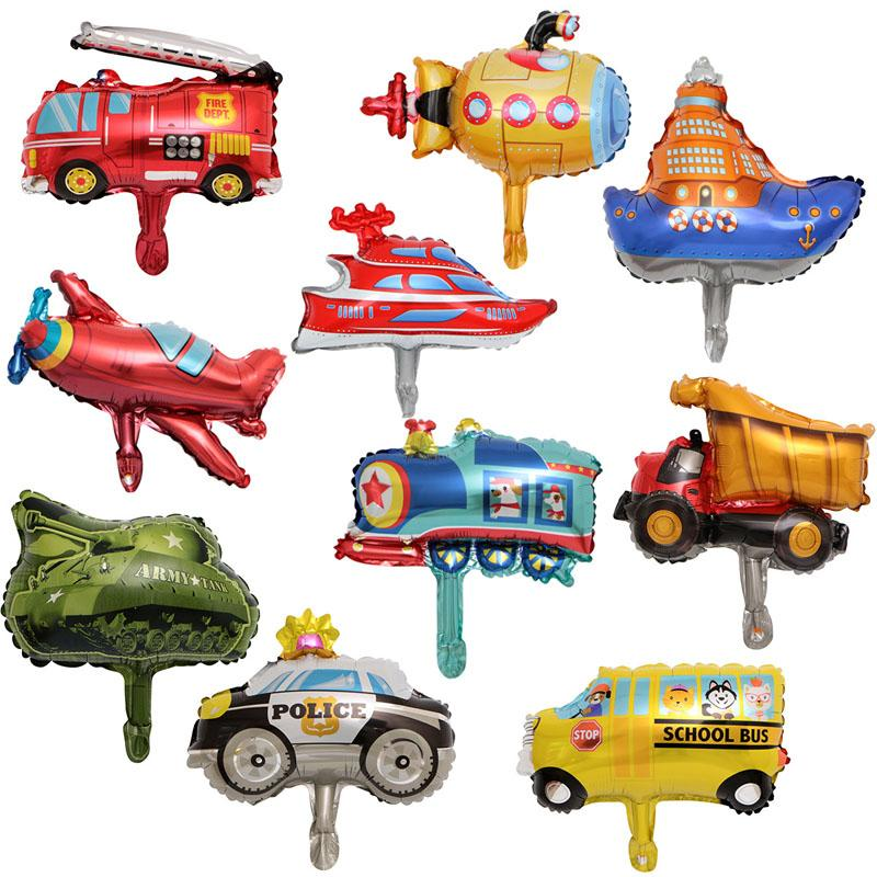 도매 만화 자동차 풍선 50pcs / lot 알루미늄 호일 풍선 아기 모델 장난감 생일 파티 장식