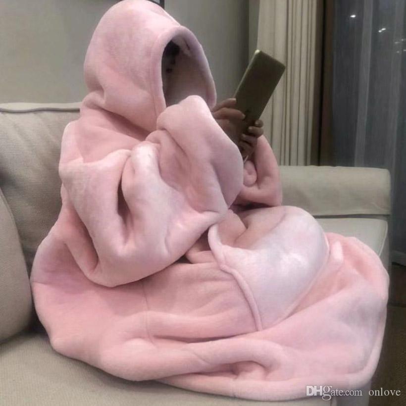 الدافئة سميكة سترة مقنعين بطانية للجنسين عملاق جيب الكبار والأطفال الصوف البطانيات للأسرة السفر المنزل منامة سترة HH9-3683