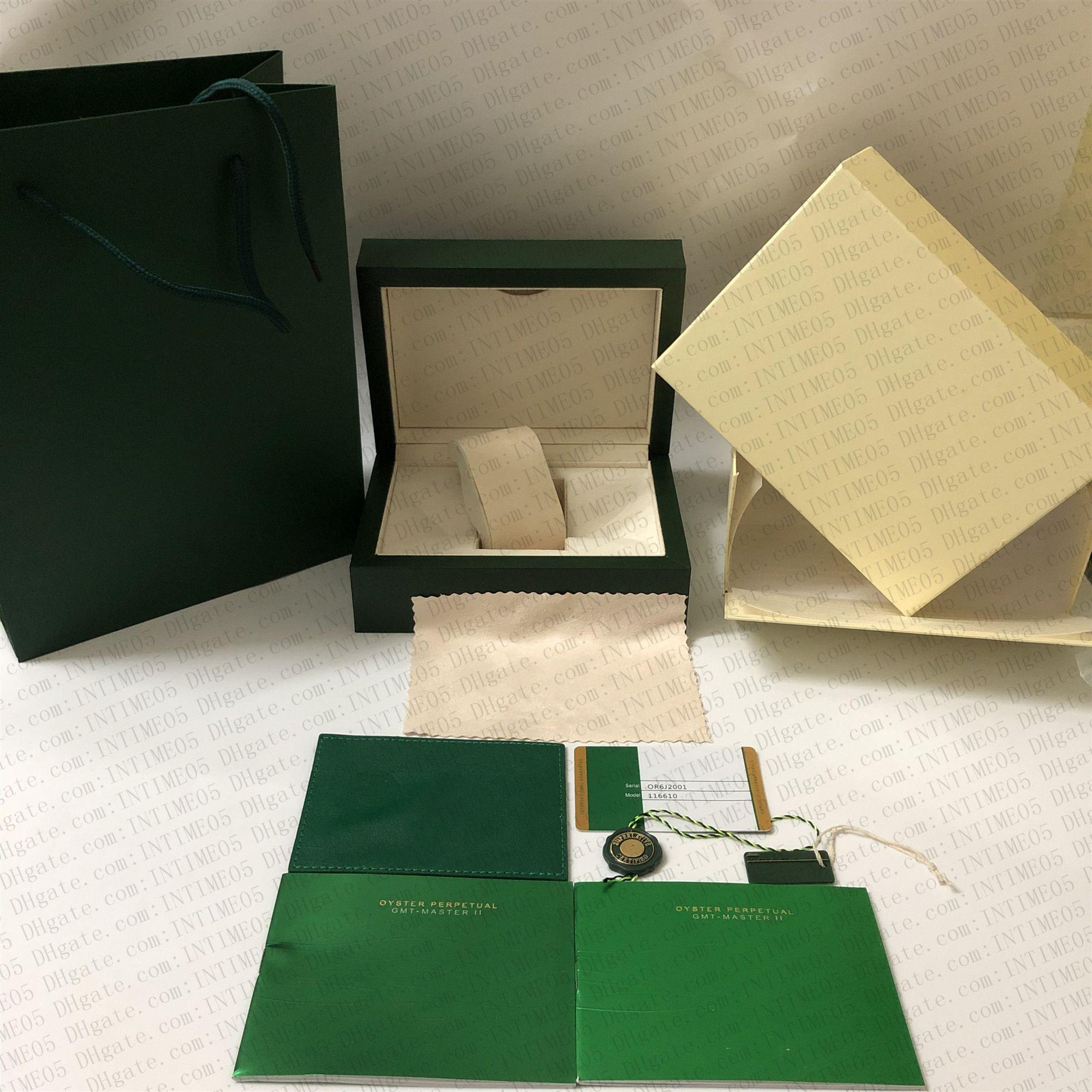 أحدث نمط شحن مجاني الأخضر ووتش الأصلي مربع أوراق بطاقة محفظة هدية صناديق الخشب حقيبة يد الساعات القضية