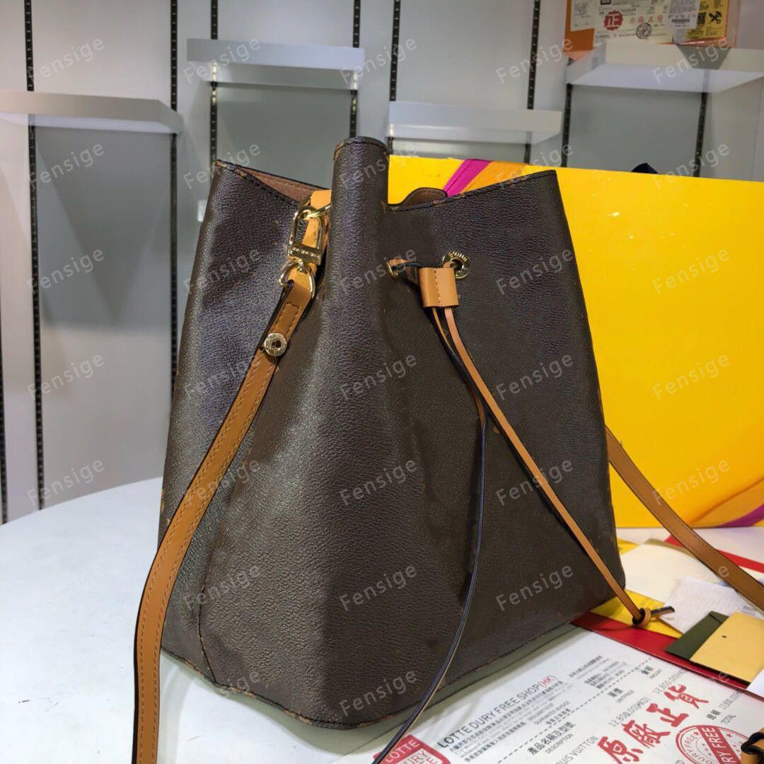 NEONOE Fashion genuine leather bucket bag women famous Drawstring handbags flower printing crossbody Shouler bags with purse