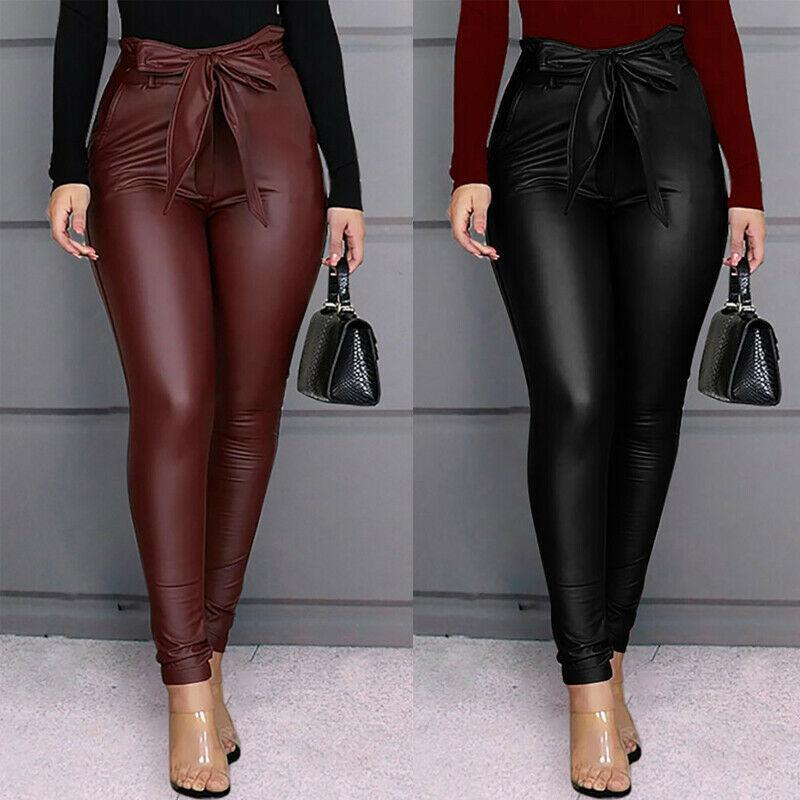 New Women Sexy PU Leather Stretchy Leggings High Waist Bow Lacing Slim Skinny Legging Skinny Ladies Office Long Trousers Casual