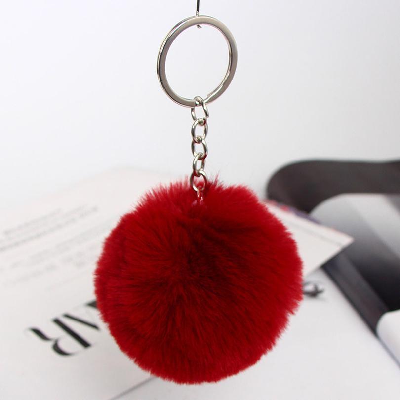 20 Colors Fluffy Fur Pom Pom Keychain Soft Faux Fur-like Ball Car Keyring Key Holder Women Bag Pendant jllpZV