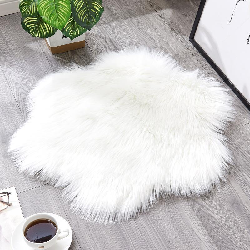 Soft Round Flower Faux Sheepskin Chair Cover Seat Pad Plain Shaggy Area Rugs for Bedroom Living Room Sofa Floor Area Rug