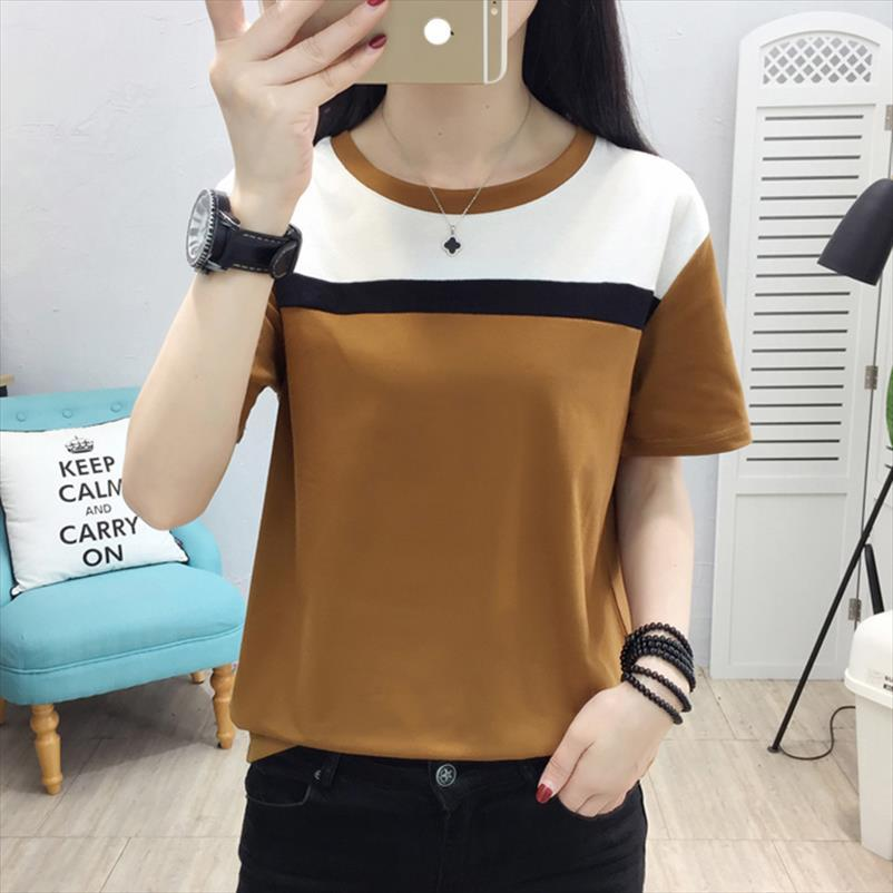 Mujer pescoço manga curta o mais camisas camisas to tops t camiseta mulheres t femme 2020 verão algodão solto camiseta mulheres qigql