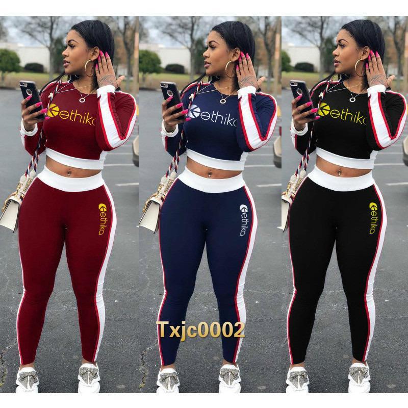 Mulheres Dois Peda Jogger Conjuntos De Designer Tracksuits Slim Contraste Costura Costura Lazer Letras Impresso Webbing Longo Manga Calças Sportwear 2021