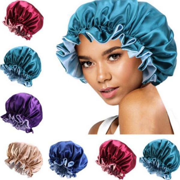 Europeia e americana popular noite de seda dupla cetim chapéu de noite beleza perma chapéu quimioterapia com fivela ajustável