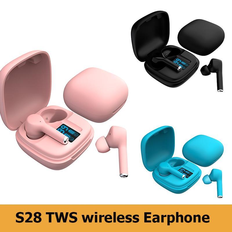 Nuevo diseño S28 TWS Bluetooth Auricular Auricular Pantalla digital Auriculares inalámbricos 5.0 Deportes Mini auriculares con embalaje al por menor