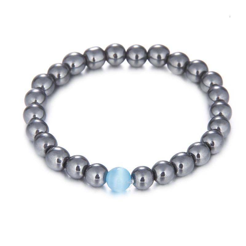 Красивая новая мода ювелирные изделия каменные бусины браслеты с белым бирюзовым / тигром глаз / гладкий серебристый 8 мм бусины для мужчин женщин