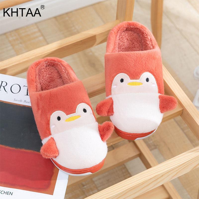 Femmes hiver house pantoufles couple mignon dessin animé pingouin coton pantoufles intérieure douce chaude chaussures femme chaussures de maison femme1