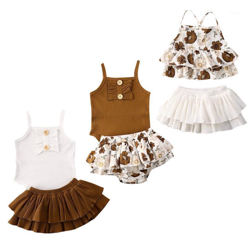 3 Stil Säuglingsbaby Kleidung Sets Sleeveless Sling Tops Strampler + Blumendruck Tutu Rock Outfit Sonnenanzug Baby Mädchen Sommer Sets1