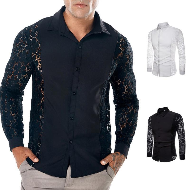 Chemise à manches longues à manches longues d'automne 2020 pour hommes Hommes Homme Chemise creuse Top Blouse Camisa Masculina W730