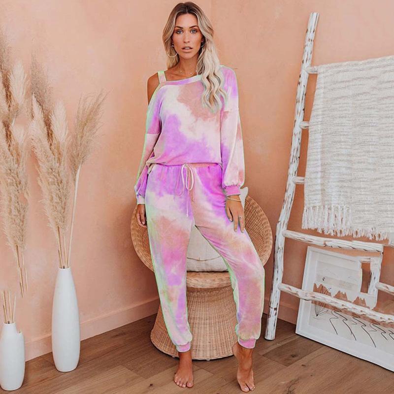 2020 Juego de salón de otoño Mujeres 2 pieza Tie Dye Set Ladies Lounge Wear Women Winter Loungewear Trajes de dos piezas para Womena1111