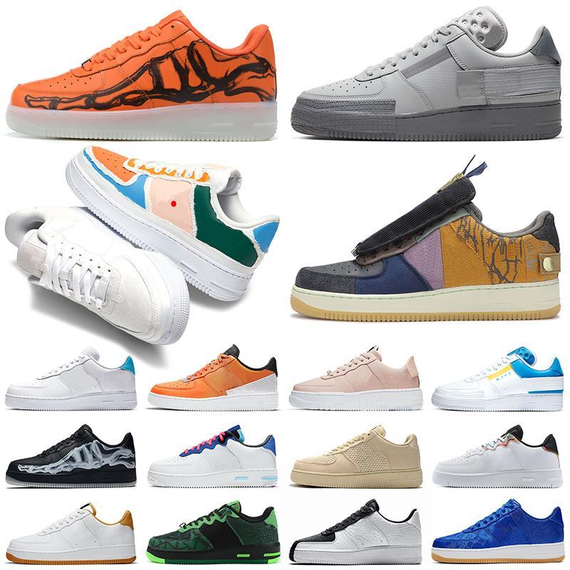 force 1 af1 n354 shadow react scarpe casual triple nero bianco Chaussures Be True Skeleton Worldwide womens mens trainer sneakers da esterno Platform