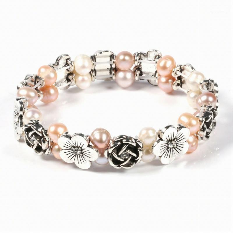 100% Natural Freshwater 6-7 mm Pearl Bracelet Flower High Quality Pearl bracelets for women1