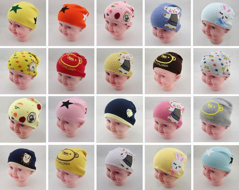 Baby Caps Inverno Inverno Primavera Algodão Knit Chapéu Misturado Designs