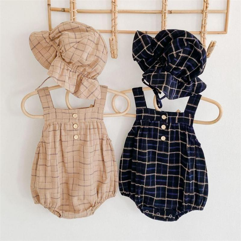 Infant Baby Girls Boys Bodysuits Plaid Imprimir Sin mangas Sin mangas Otoño Casual Jumpsuits Con Sombrero Niños Overlismo Trajes 201216