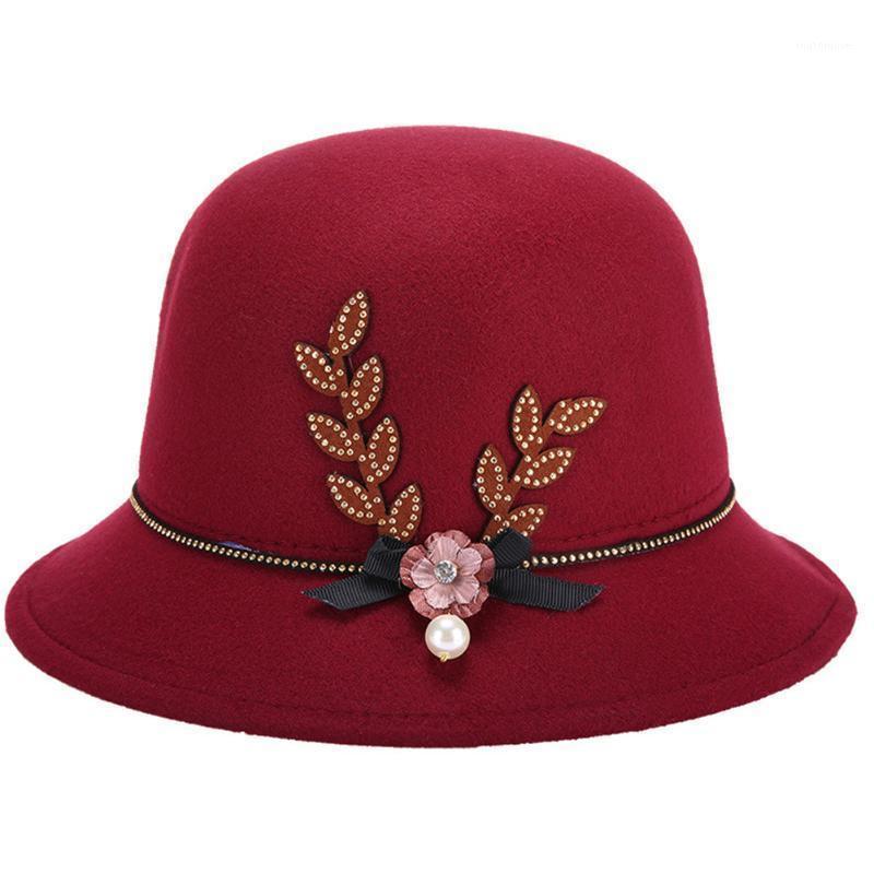 المرأة الصيف الربيع الخريف الشتاء فيدوراس زهرة اللؤلؤ زينت شعرت كاب الدافئة سهلة أنيقة الرامي hat1