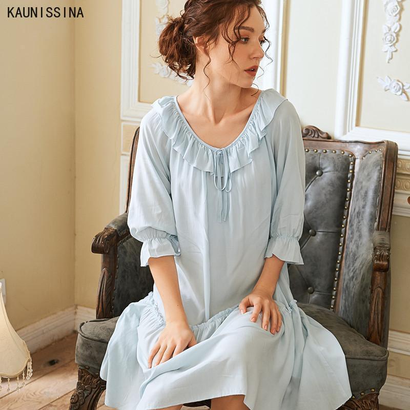 Summer Blanc Coton Sweet Femmes Chemises de nuit Soux Lâche Vêtements de nuit Élégant Vintage Vintage Princess Robe de nuit Lingerie Sleepwear1