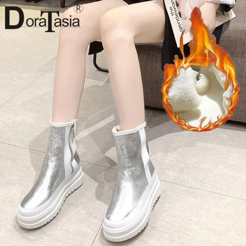 DORATASIA New Fashion Ladies Flat Platfrom Ankle Boots Fashion Winter Warm Fur Boots Women 2020 Casual Party Shoes Woman