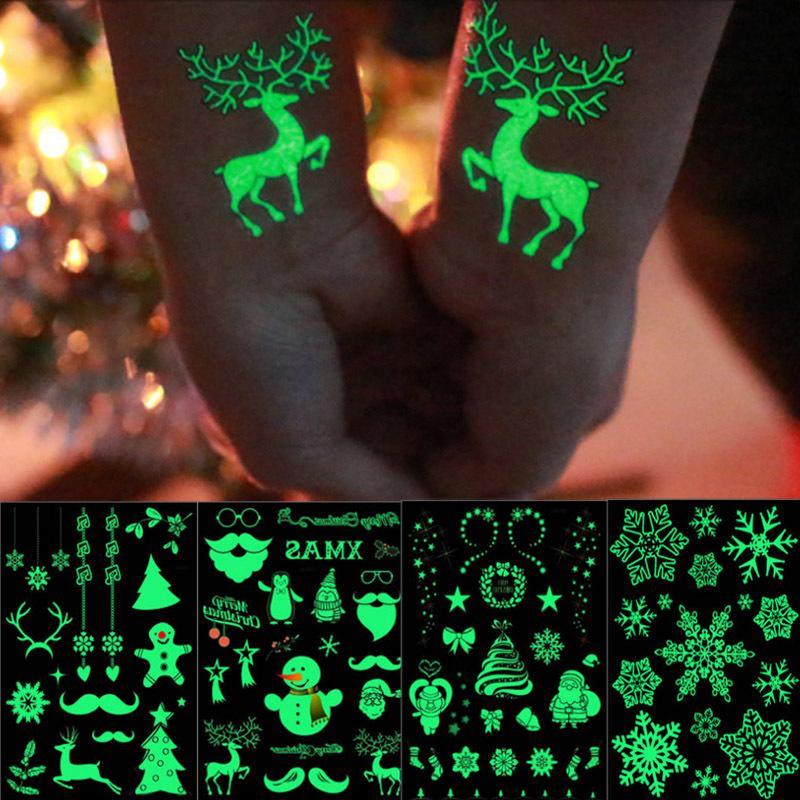 Светящиеся Санте Снежинка Водонепроницаемая Наклейка Tattoo Снежинка Для Детей Рождественские подарки Рождество Navidad Natal Украшения Q1112