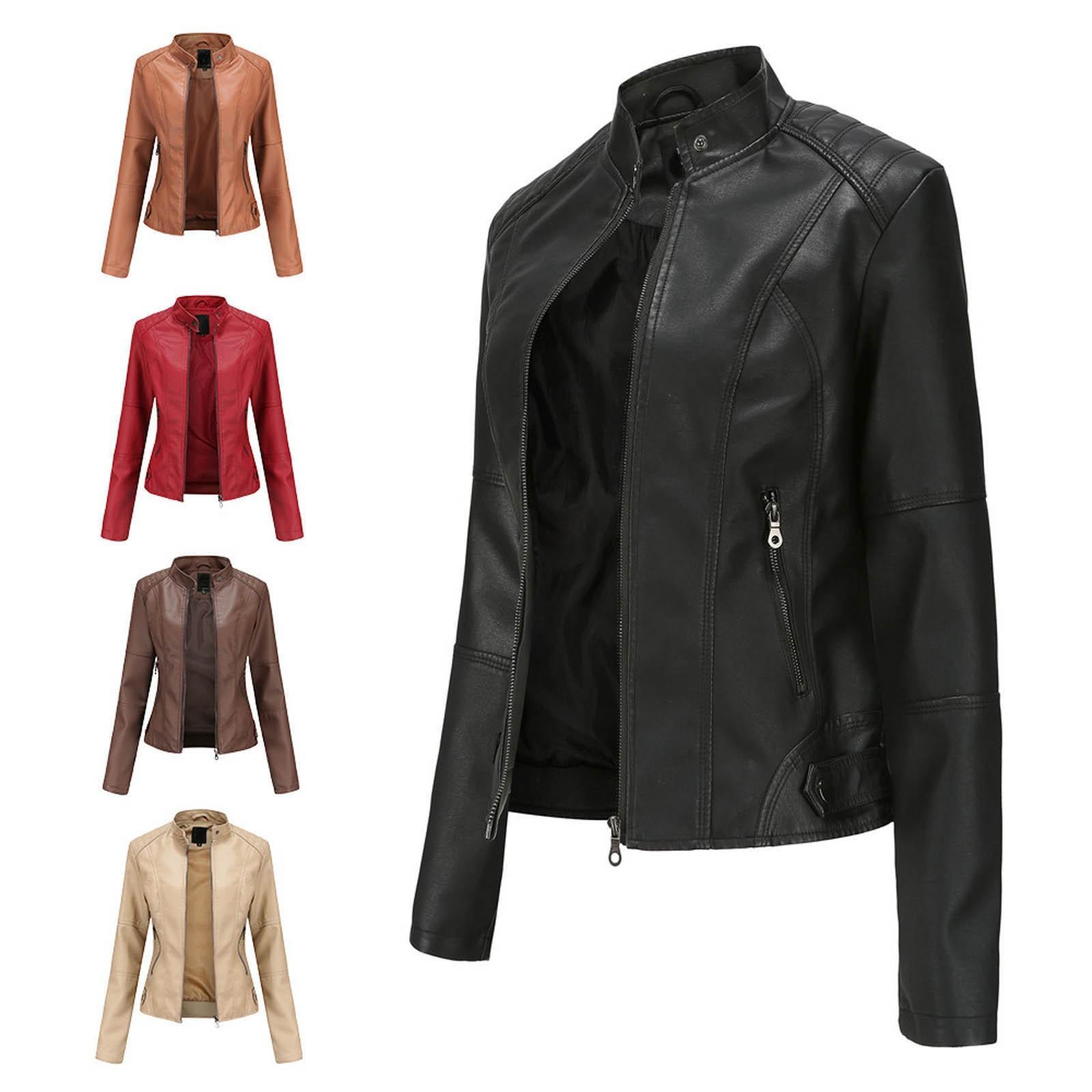 Chaqueta de cuero delgado cuello alto de la cremallera de costura Sólido Color de la camisa para mujer de la ropa de moda nuevos mujeres ??????? ??????